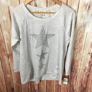 Style Co Lightweight Star Sweater Large Gray New